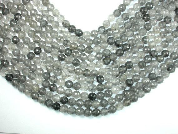 Gray Quartz Beads, 8mm Faceted Round Beads-BeadBeyond