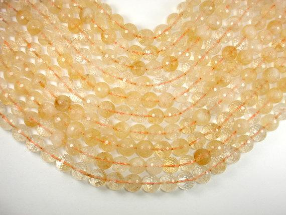 Genuine Citrine Beads, 12mm Faceted Round Beads-BeadBeyond