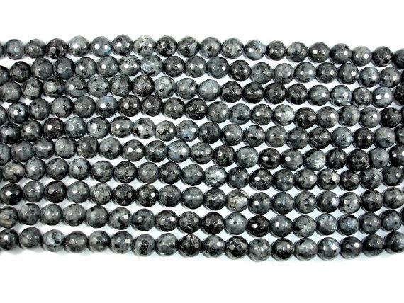 Black Labradorite, Larvikite, 12mm Faceted Round-BeadBeyond