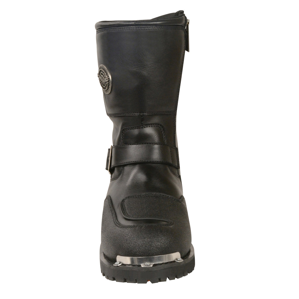 Mens Black Leather Updated Strap Boot w// Reflective Piping Gear Shift Protection