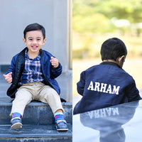 Kids Name Bomber Jacket - Blue