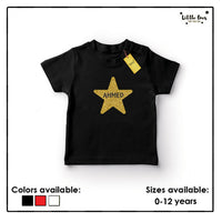 Kids Glitter Star Name Tshirt