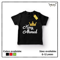 Kids King Name Glitter Tshirt