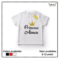 Kids Princess Name Glitter Tshirt