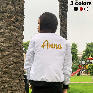 Adult Glitter Name Bomber Jacket