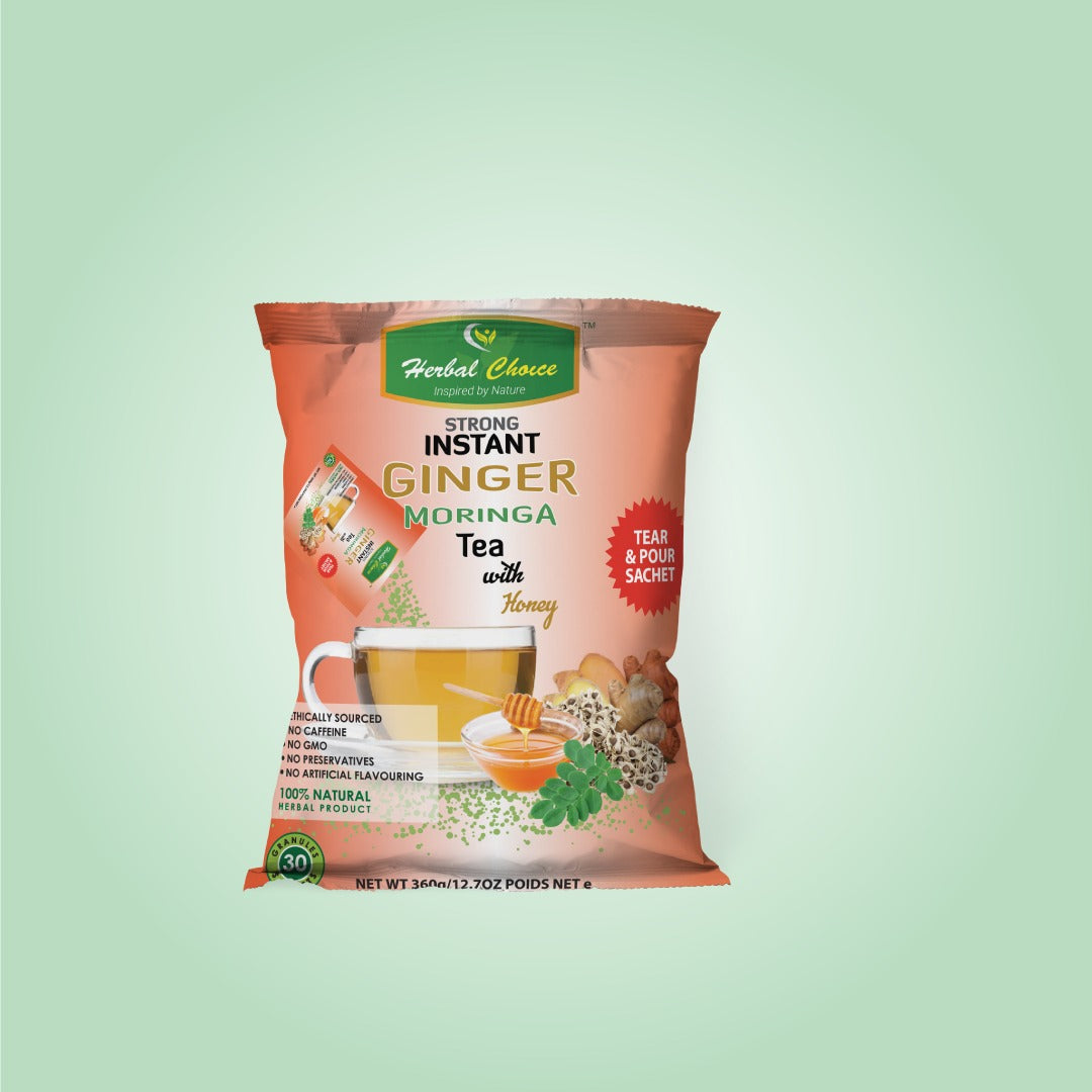 Strong Instant Ginger Moringa Tea with Honey Granules-Crownherbalproducts