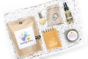 Blooms of Happy Hug Box. The perfect gift for birthday, cheer up, thinking of you, thank you. Send a hug box filled with local USA artisan goods.