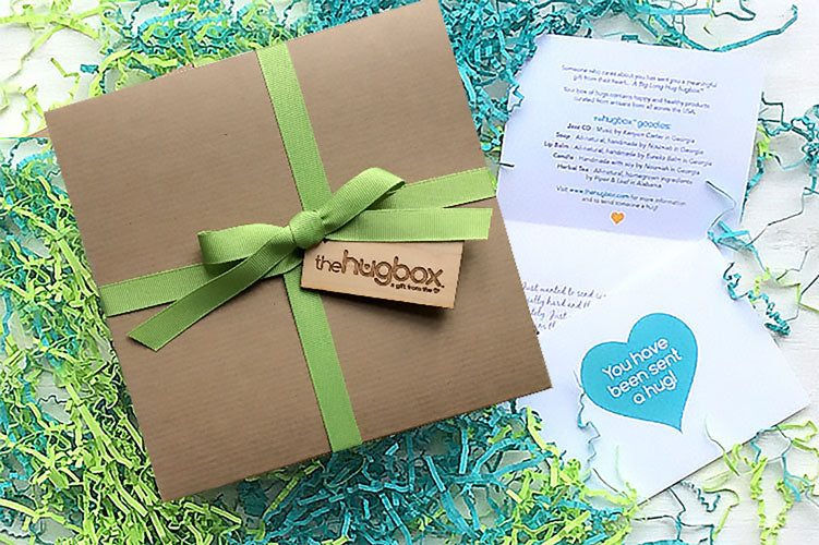 Beach be with you Hug Box. US Artisan goods in ecofriendly custom-wrapped git box. Send a hug.
