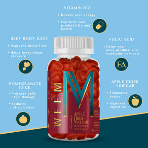 All the benefits of Apple Cider Vinegar in one tasty gummy - weem
