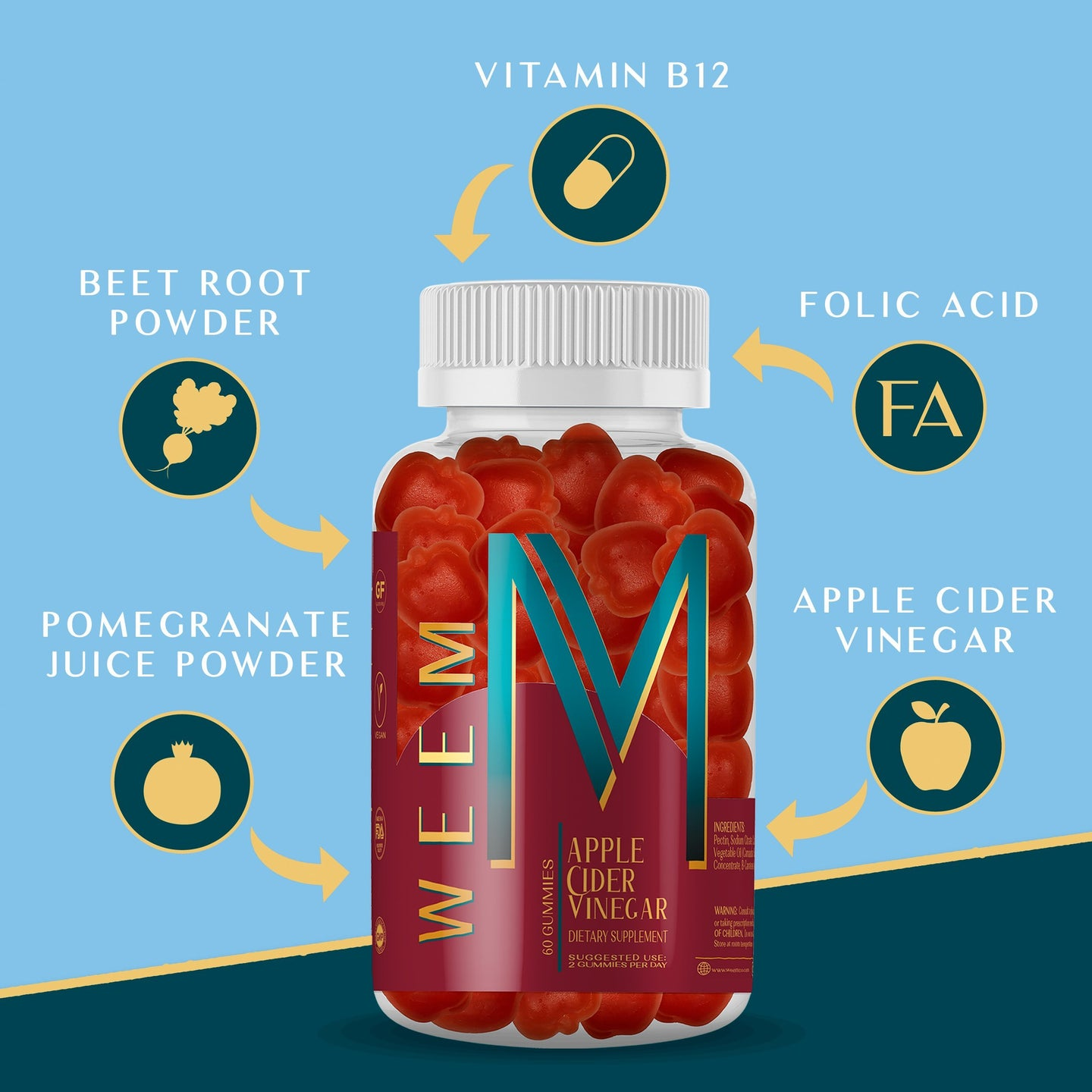 Load image into Gallery viewer, All the benefits of Apple Cider Vinegar in one tasty gummy - weem