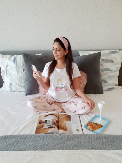 White Bubbly Tee and PJ Set