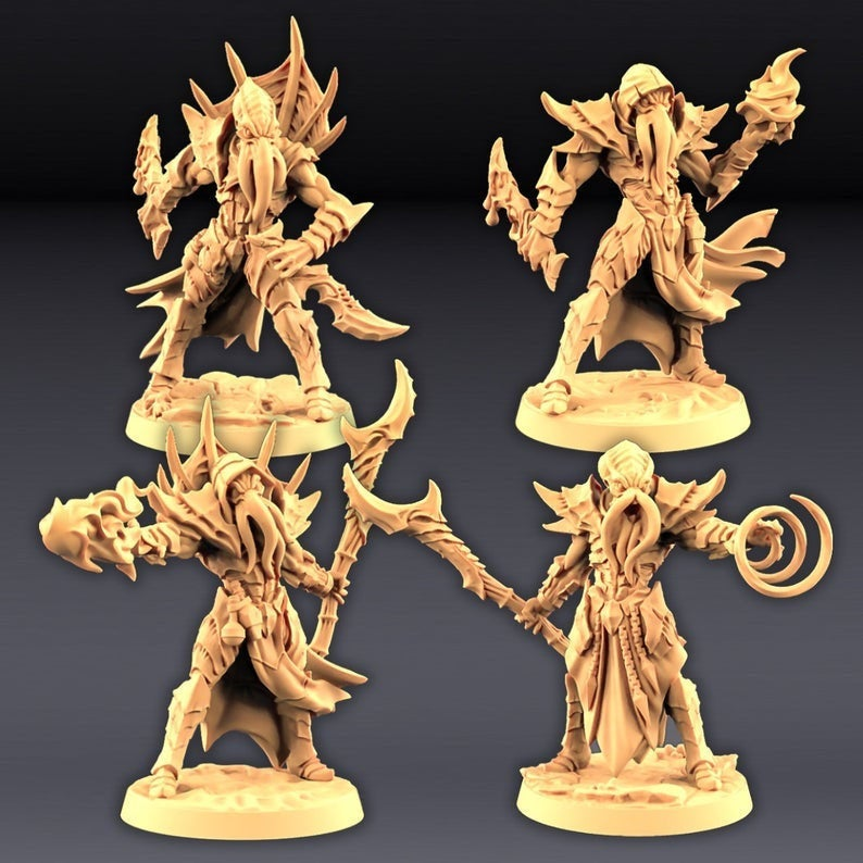 32mm 28mm Pathfinder Resin Miniature 15mm Illithid! DnD Mini Mind FlayerDragon Dungeons and Dragons