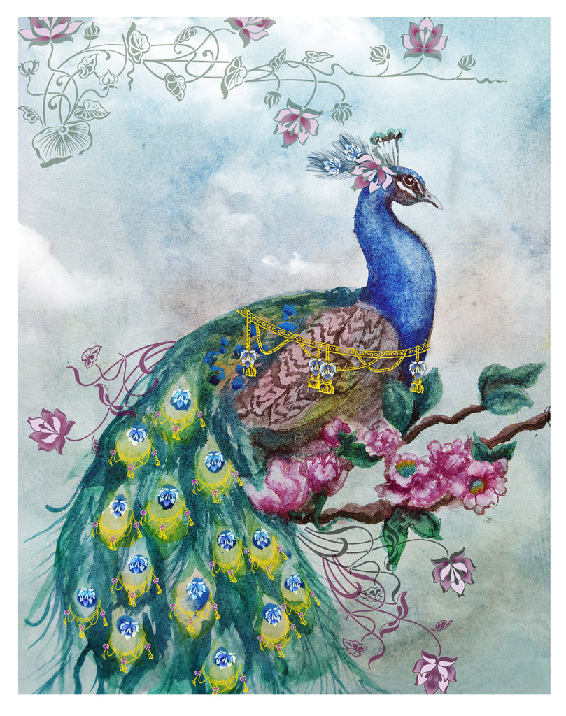 Pretty Peacock Embellished - Art print