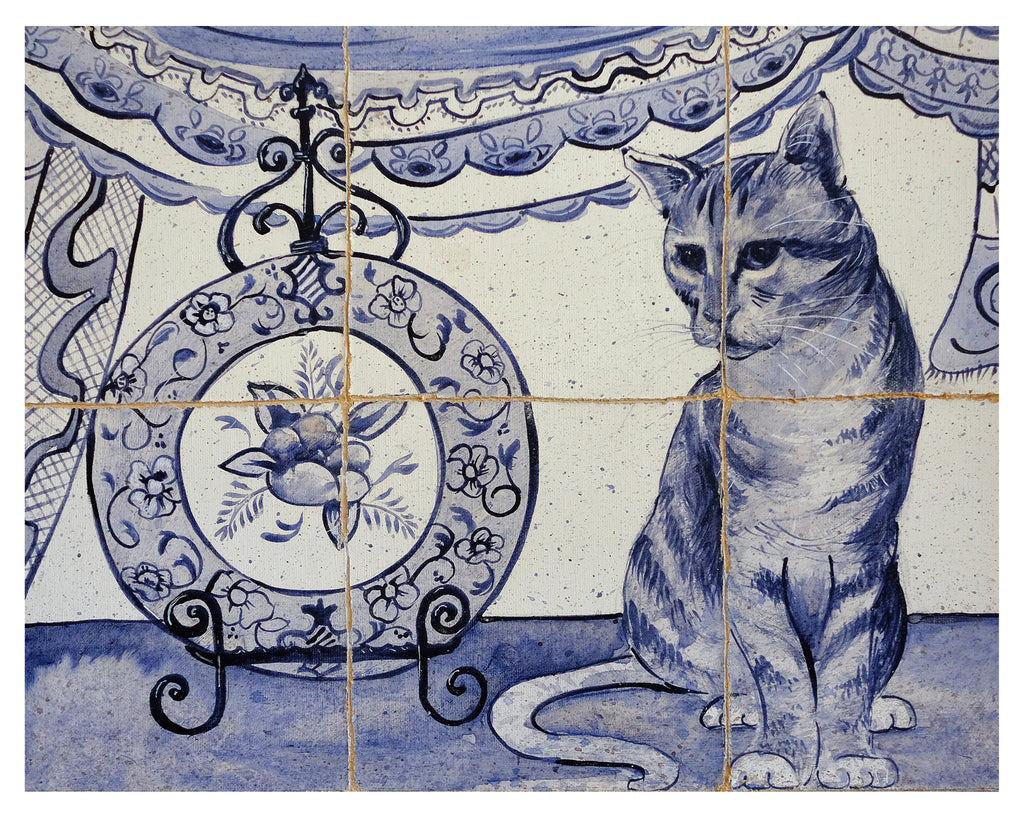 Faux Tiles Blue and White Cat - Art print