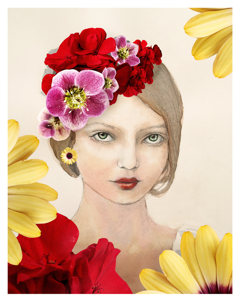 Green Eyes with Flowers - Art Print