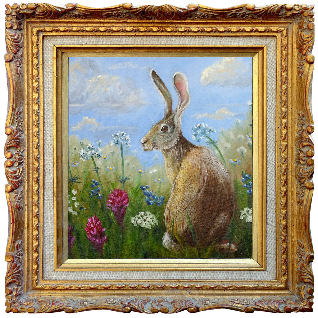Hare in a field - Square Blank Greeting Card