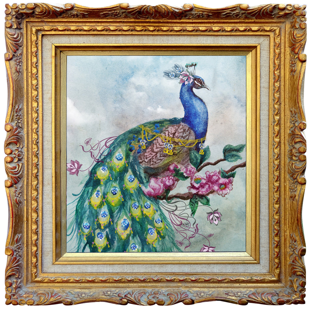 Pretty Peacock Embellished - Square Blank Greeting Card