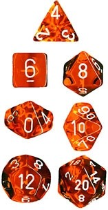 Orange/White Translucent Polyhedral 7- Set
