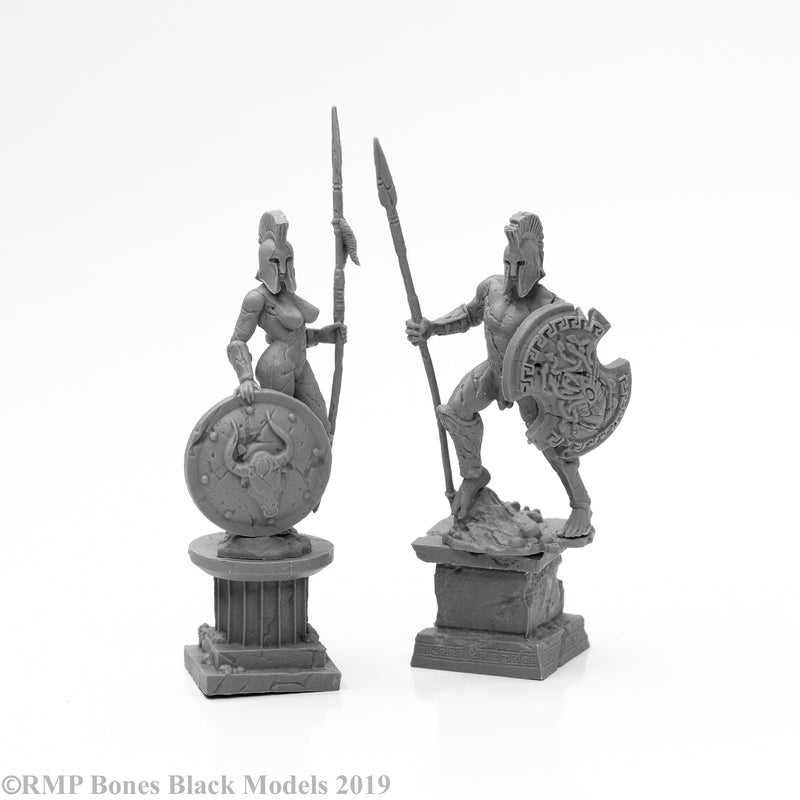 Amazon and Spartan Living Statues (Stone) (2) - Reaper Bones