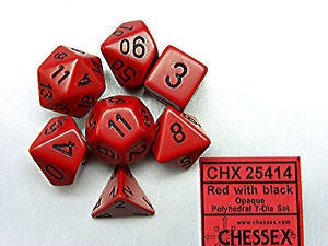 Chx 25414 Opaque Polyhedral Red/Black 7-Die Set
