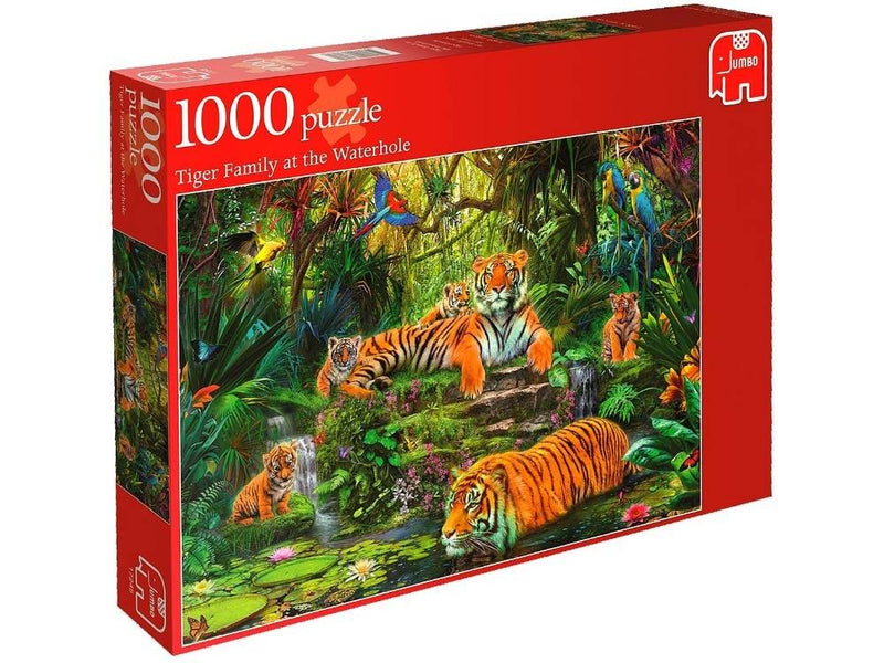 Tiger Family At The Waterhole: 1000pc Jumbo