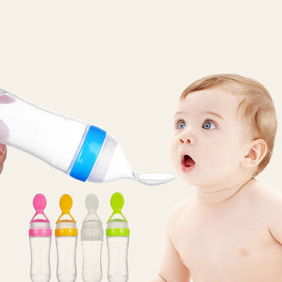 Kids & Baby Rice Paste Bottle Baby Silicone Milk Bottle Feeding Spoon For Baby & Kids- Silicone Squeeze - Absurd Love