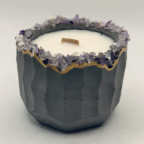 Concrete Soy Candle with Wood Wick - Amethyst Geode