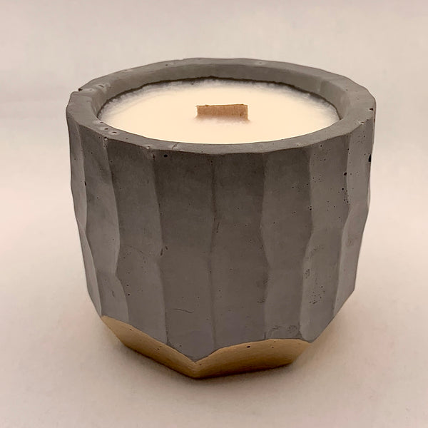 Concrete Soy Candle with Wood Wick - Gold Bottom