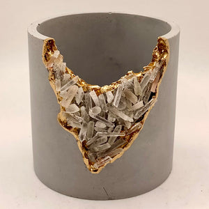 Concrete Vessel - Crystal Quartz Points Geode