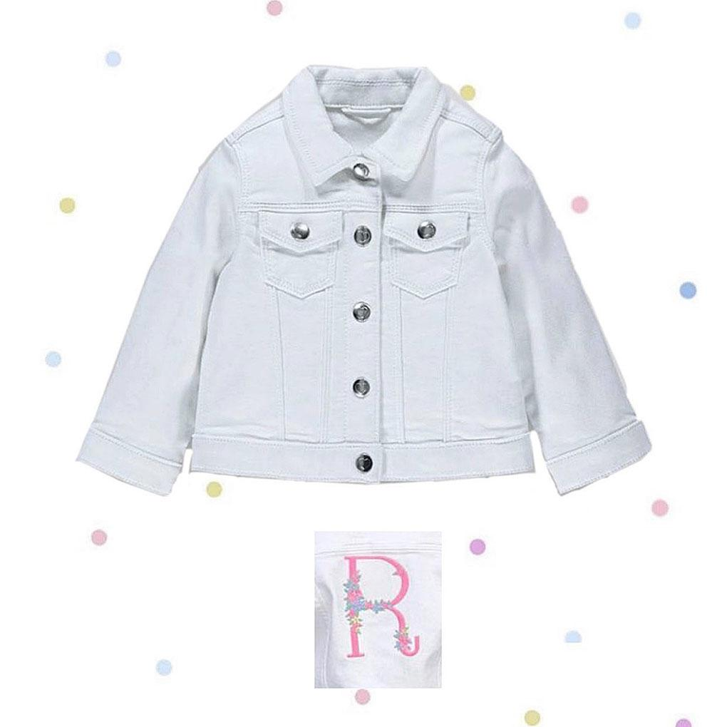 Girls White Denim Jacket