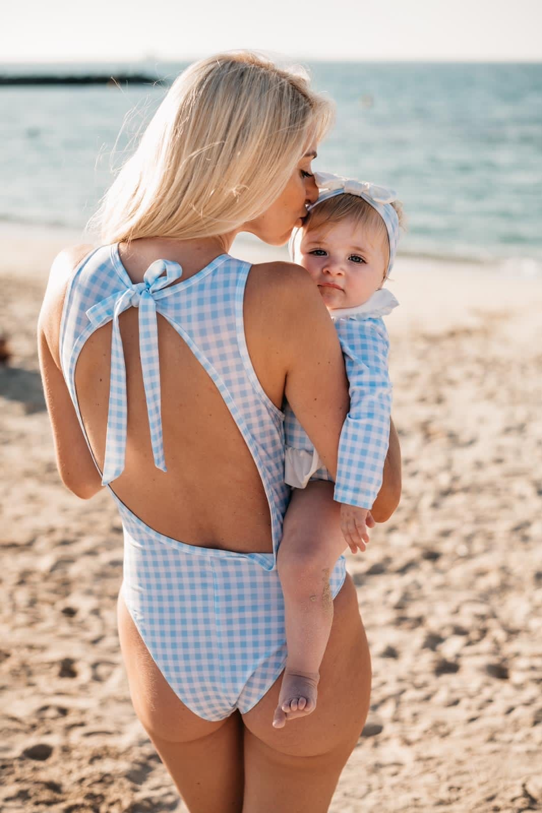 Clark and Beau Exclusive Blue Gingham Ladies Swimsuit