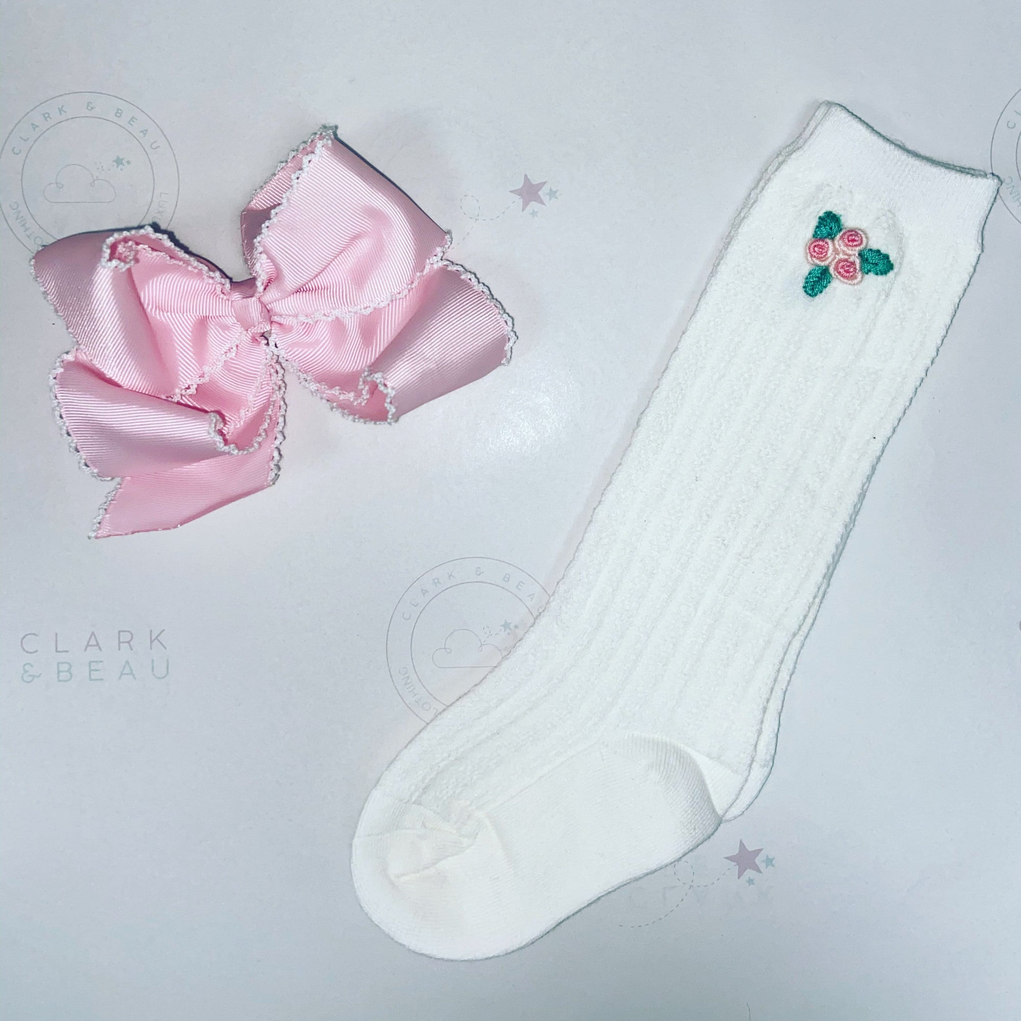 Hand Embroided Rose Bud Socks and Matching Bow