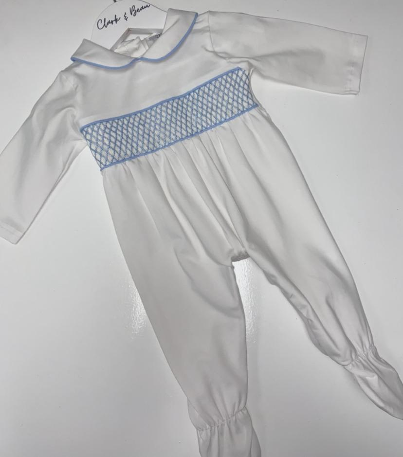 Boys Blue smock baby grower