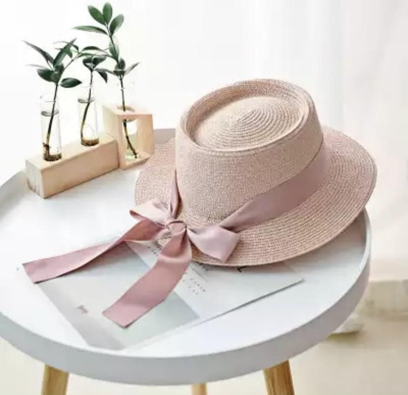 Ladies Personalised Baby Pink Panama Hat with Bow