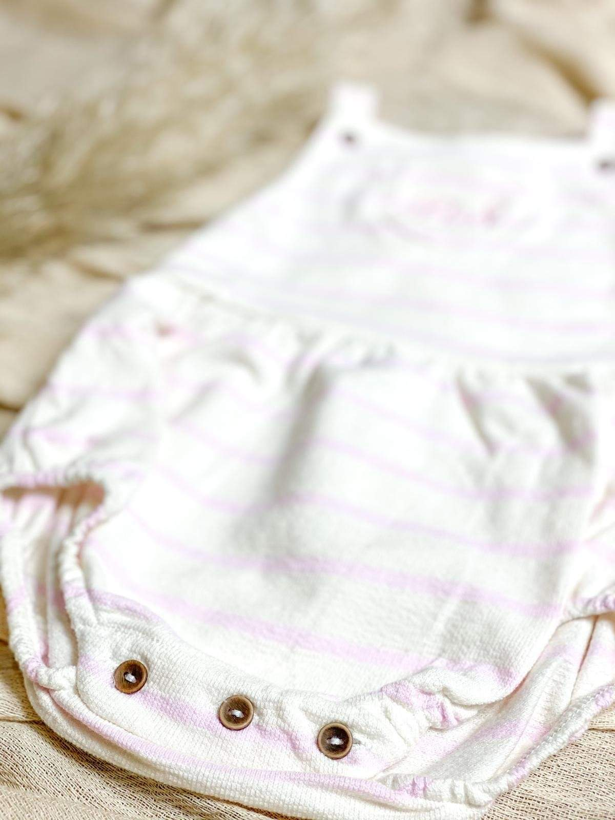 Babidu Pink and Cream Stripe Romper