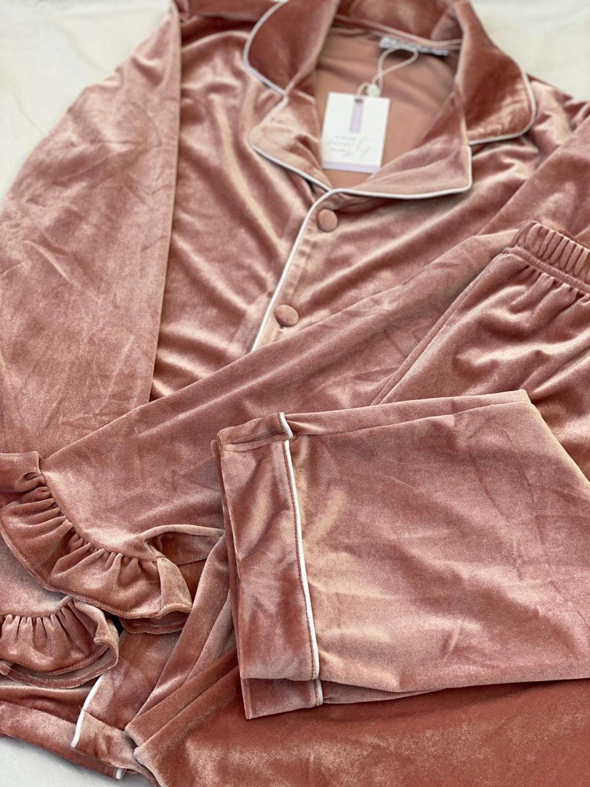 Ladies Luxe Blush Pink Velour Pyjamas