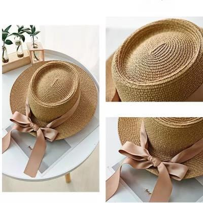 Ladies Personalised Natural Panama Hat with Bow