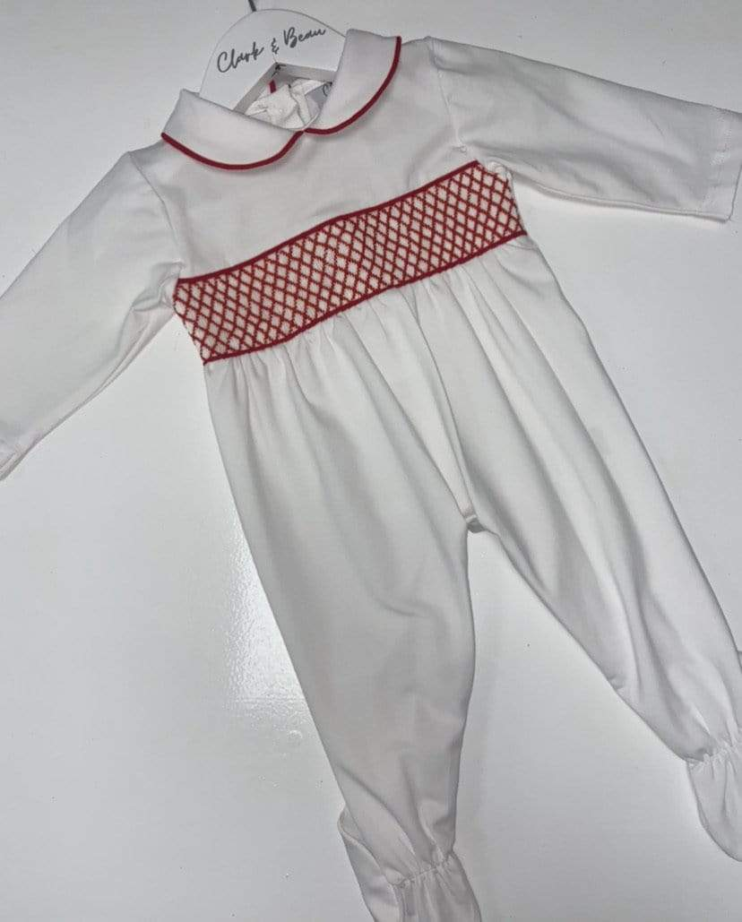 Boys Red smock baby grower