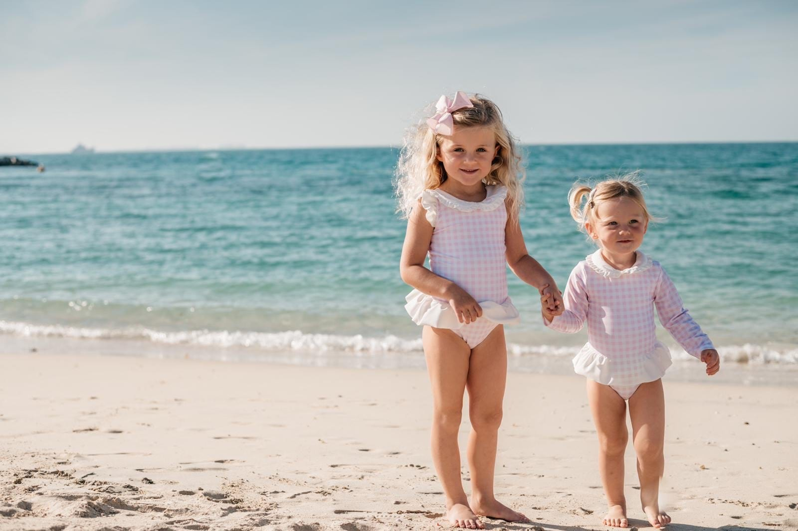 Clark and Beau Exclusive Pink Gingham Long Sleeve Swimsuit