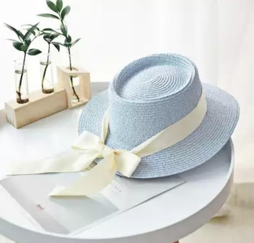 Ladies Personalised Baby Blue Panama Hat with Bow