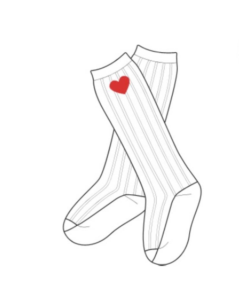 Hand Embroided Heart Socks and Matching Bow