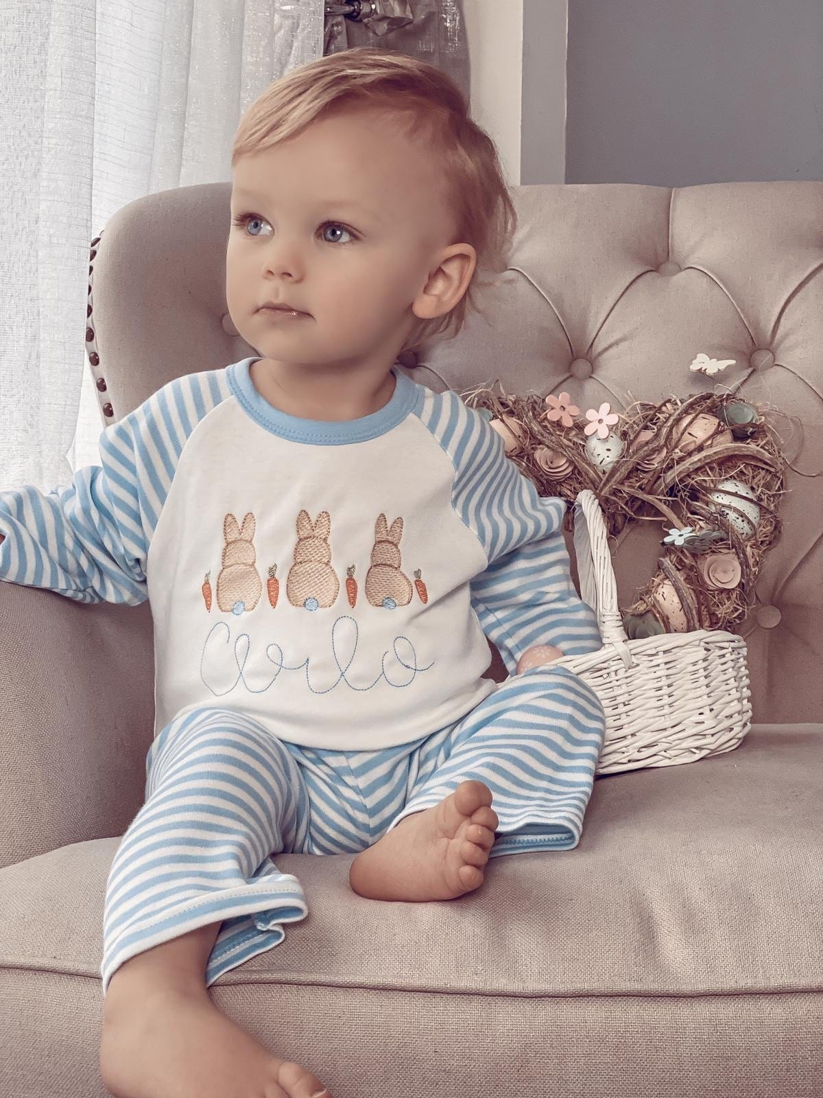 Easter Bunny Blue Stripe Pyjamas