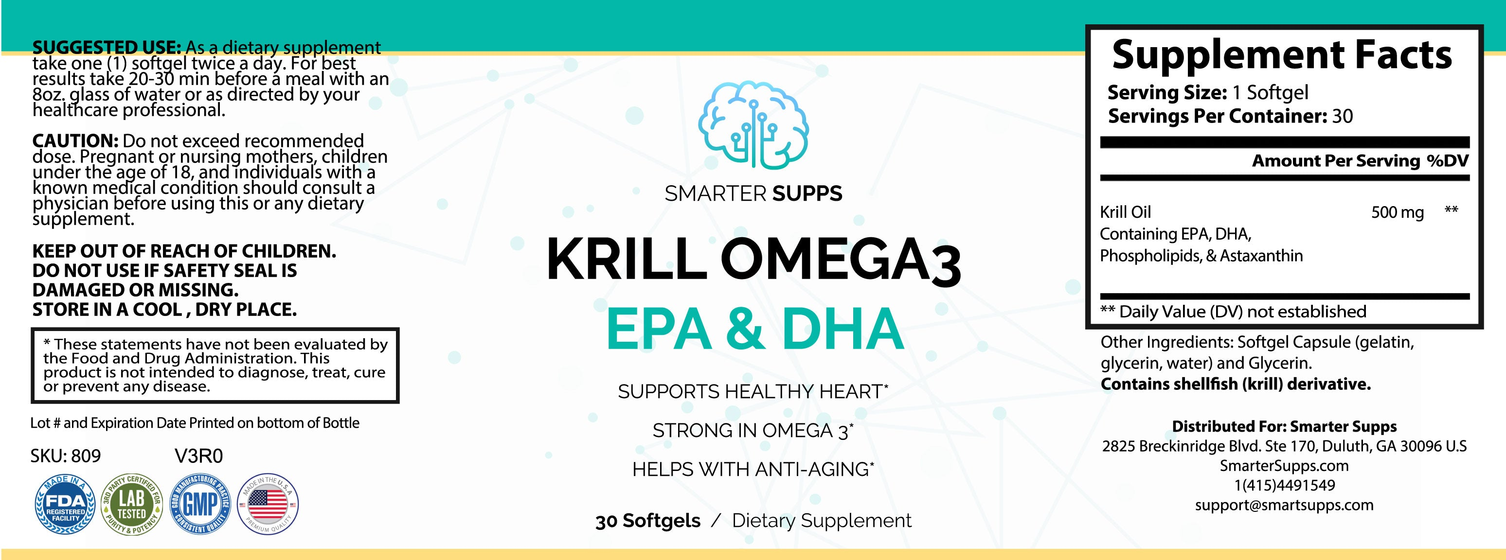 1 Bottle of Krill Omega 3 <br> EPA & DHA - FREE SHIPPING