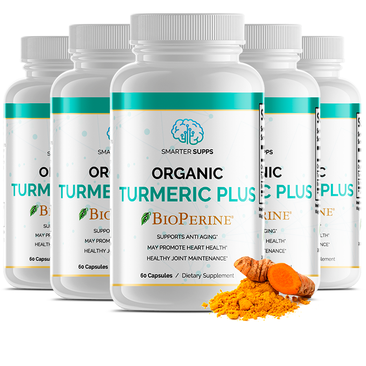 5 Bottles of ORGANIC TURMERIC PLUS & BIOPERINE<br> 30% Discount <br>FREE SHIPPING