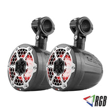 "Load image into Gallery viewer, HYDRO 6.5"" SLIM WAKEBOARD POD TOWER SPEAKER WITH INTEGRATED RGB LED LIGHTS 375 WATTS BLACK CARBON FIBER (PAIR)"