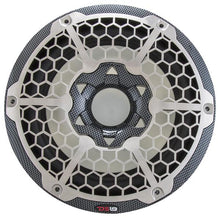 "Load image into Gallery viewer, HYDRO 10"" MARINE SUBWOOFER WITH INTEGRATED RGB LIGHTS 600 WATTS BLACK CARBON FIBER"