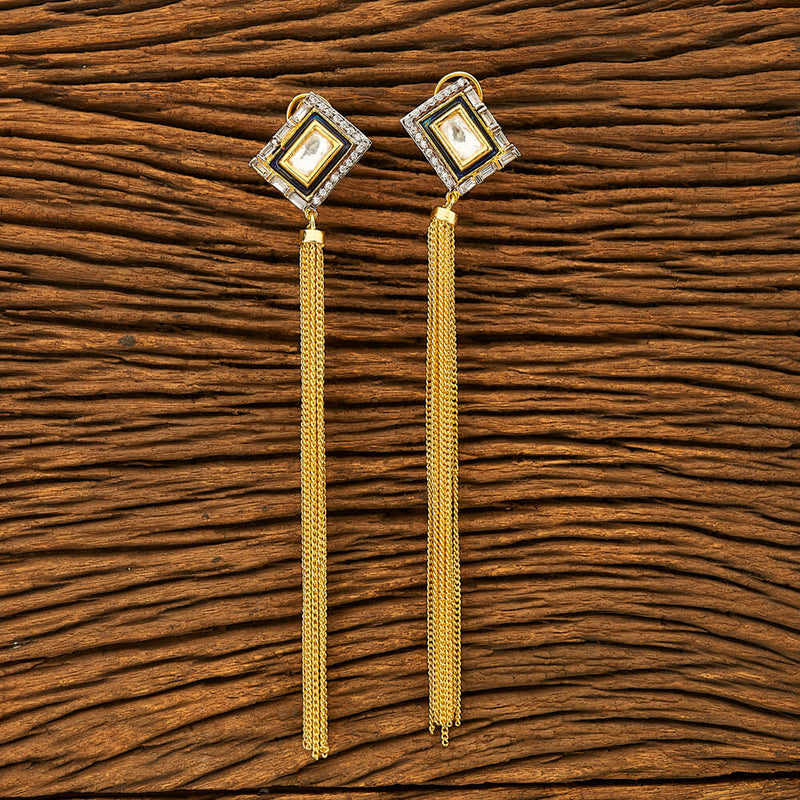 Designer Trendy Earring With Gold Plating | Long Earring | Designer Earring with Diamonds