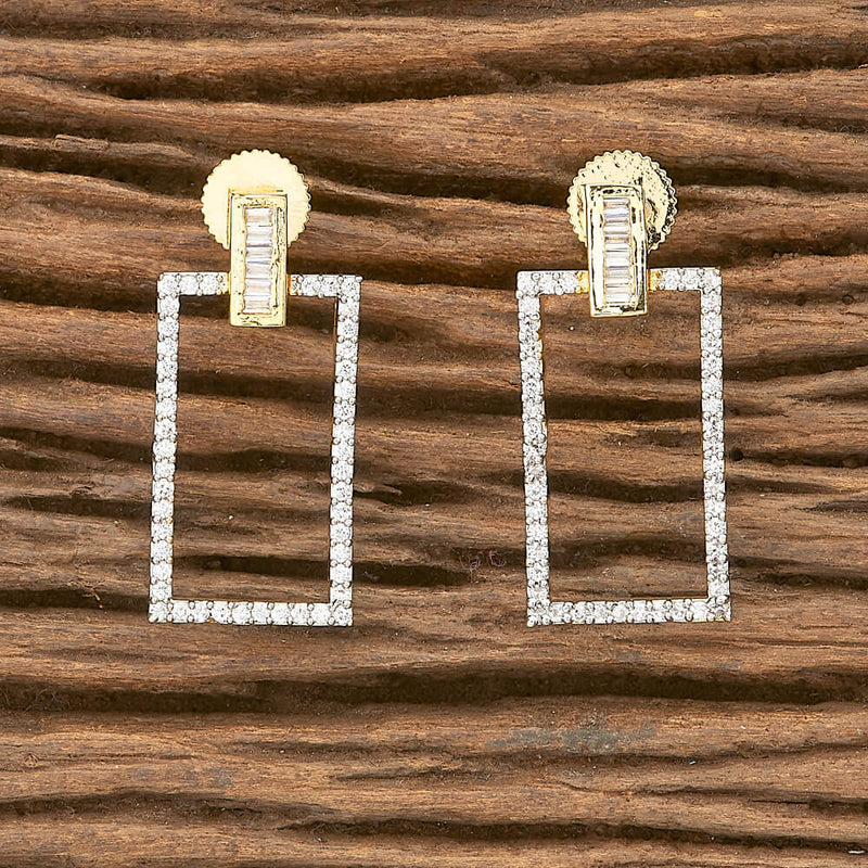 Short Earring With 2 Tone Plating | CZ American Diamond Earring White