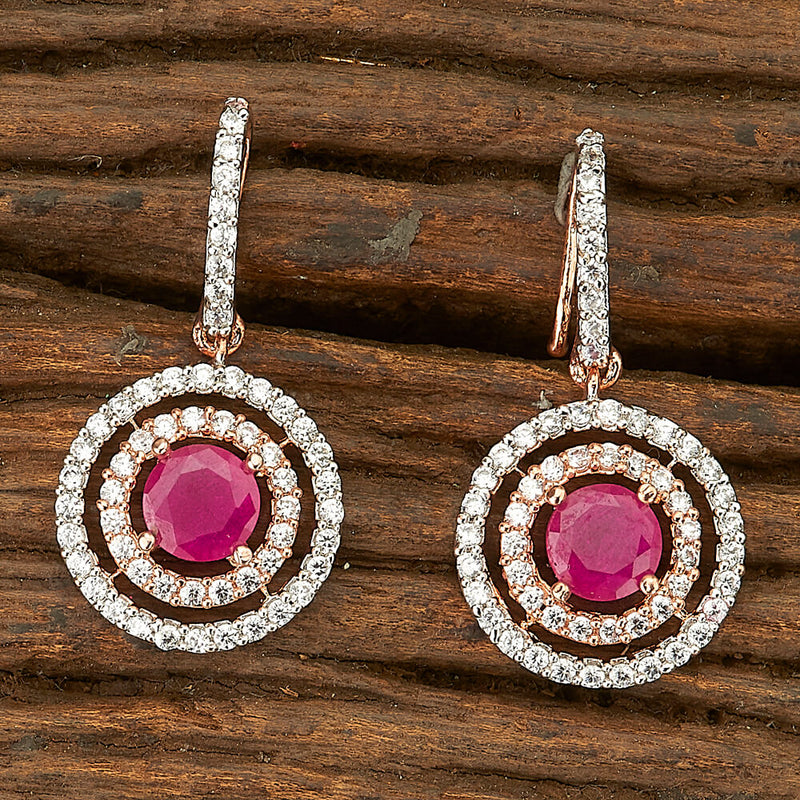 Short Earring With Rose Gold Plating | Stone Earring with American Diamond