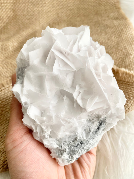 White Flake Calcite Cluster #20